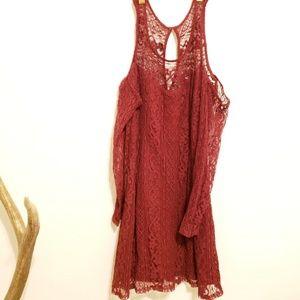 Hollister Burgandy Lace Cold Shoulder Dress Size M